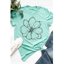 Preppy Girls Roll Up Sleeve Crew Neck Flower Printed Slim Fit T-Shirt