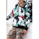 Stylish Mens Letter Palace All Over Leaf Graphic Drawstring Long Sleeve Relaxed Black Hoodie with Pocket