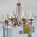 Barrel Living Room Pendant Lighting Traditional Fabric 3/8 Bulbs Blue Hanging Chandelier