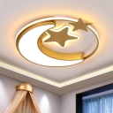 LED Bedroom Ceiling Mounted Fixture Cartoon Pink/Blue/Gold Flush Light with Moon and Star Acrylic Shade