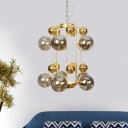 2 Tiered Ball Smoke Grey Glass Chandelier Mid Century 8 Lights Brass Finish Ceiling Pendant Lamp