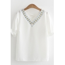 Trendy Womens Floral Embroidered Criss Cross Ruffles V-neck Short Sleeve Chiffon Loose Fit T-Shirt