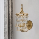 Candle Crystal Wall Light Fixture Modern 2-Bulb Bedroom Wall Lamp in Gold with Round Metal Cage