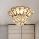 Waterdrop Clear Crystal Ball Flushmount Vintage LED Bedroom Flush Mount Light with Glass Leaf Decor
