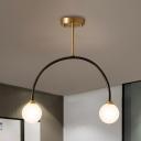 Arced Arm Semi Flush Light Simple Metallic 2 Heads Brass and Black LED Close to Ceiling Lamp