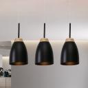 3 Bulbs Living Room Down Lighting Minimalist Black Finish Multi Pendant with Bell Metal Shade