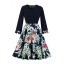 Womens Floral Printed Panel Long Sleeve V-Neck Fashion Midi Pleated Swing Dress in Navy