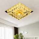Modernist Square Ceiling Lamp Clear Crystal Block LED Flush Light Fixture in Warm/White Light