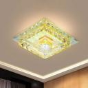 Translucent Crystal Square Flush Light Minimalism LED Foyer Flushmount with Ribbed Glass Shade in Warm/White Light