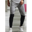Boys Sportswear Color Block Mid Waist Ankle Cuffed Fitted Pants in Gray and Black