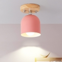 Macaron 1-Bulb Semi-Flush Mount Light Pink Finish Bell Rotatable Close to Ceiling Lamp with Iron Shade