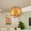 Lotus Leaf Restaurant Pendant Chandelier Metal 5-Bulb Postmodern Suspension Light in Gold with Globe Design