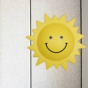 Yellow Sun Shaped Wall Sconce Light Cartoon LED Plastic Wall Mount Lamp for Child Bedroom