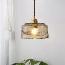Modern 1 Light Pendant Lamp Gold Bowl Hanging Lighting with Amber Rippled Glass Shade
