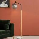 Globe Standing Lamp Post Modern Smoke Gray Glass 1 Light Living Room Floor Light in Brass and Black