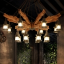 16 Lights Clear Glass Chandelier Light Factory Black Kerosene Restaurant Pendant Lighting Fixture with Wood Arm