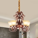 6/9 Lights Beige Glass Chandelier Traditional Brass Trapezoid Brass Living Room Pendant Light with Metal Curved Arm