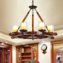 Classic Cylinder Chandelier Lighting 6/8-Bulb Marble Pendant Lamp in Brown with Wood Rudder Design