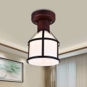 Cream Glass Brown Flush Ceiling Light Tapered 1 Light Traditional Flushmount Lighting with Cage