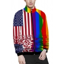 Fance Mens Long Sleeve Mock Neck Zipper Front Stripe Flag Fist Flower Heart Printed Relaxed Colorful Sweatshirt