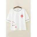 Preppy Girls Short Sleeve Round Neck Japanese Letter Cat Floral Graphic Contrast Piped Loose T-Shirt