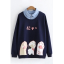 New Trendy Girls Long Sleeve Lapel Collar Button Up Japanese Letter Paw Graphic Fake Two Piece Loose Fit Pullover Sweatshirt