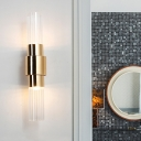 Post Modern Tube Wall Sconce Lighting Clear Ribbed Glass 2 Lights Corner LED Wall Lamp Fixture in Gold