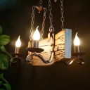 4 Lights Chandelier Light Fixture Warehouse Candle Metal Hanging Pendant in Copper with Rectangle Wood Deco