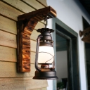 Kerosene Frosted Glass Wall Lighting Vintage 1-Light Corridor Sconce Light Fixture in Copper with Bamboo Right Angle Arm