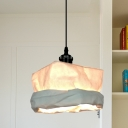 White Sack Shaped Pendant Light Asia Style 1 Bulb Kraft Paper LED Ceiling Hang Fixture