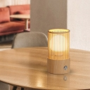 1 Bulb Coffee House Table Light Minimalist Beige Desk Lamp with Tube Cage Wood Shade