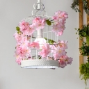 White Birdcage Suspended Lighting Fixture Farm Style Iron 1-Head Restaurant Pendant Light with Artificial Flower