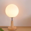 Frosted Glass Globe/Cylinder/Square Table Light Modernist 1-Head Wood Nightstand Lamp for Bedside