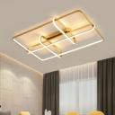 Gold Rectangular Frame Ceiling Lighting Modernist Acrylic LED Flush Mount Fixture with Oblong Design for Bedroom