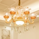 6-Head Chandelier Pendant Light Traditional Living Room Hanging Lamp with Floral Clear Glass Crystal Shade in Rose Gold