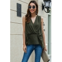 Elegant Womens Sleeveless Surplice Neck Patchwork Button Back Relaxed Blouse Top in Green