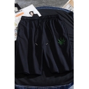 Sportswear Mens Drawstring Waist Leaf Embroidery Relaxed Fit Shorts