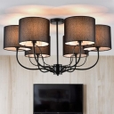 3/6-Light Hollowed Drum Shade Semi Flush Traditional White/Black Fabric Ceiling Mount Chandelier for Living Room