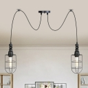 Iron Black Finish Swag Multi Light Pendant Wire Cage 2/3/6 Bulbs Farmhouse Mini Hanging Ceiling Lamp