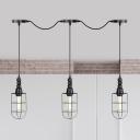 Caged Iron Multi Pendant Light Industrial 3/5/7-Bulb Restaurant Tandem Suspension Lamp in Black