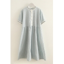 Casual Simple Girls Short Sleeve Crew Neck Button Up Plaid Print Embroidered Linen and Cotton Long Pleated Swing Dress