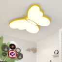 Butterfly Bedroom Flushmount Acrylic LED Modern Style Flush Ceiling Light in Pink/Yellow/Blue