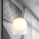Small Cloche Pendulum Light Minimalist Frosted Glass 1 Bulb Bedroom Ceiling Pendant with Inner Ball Shade in Gold