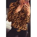 Fashionable Ladies Long Sleeve Spread Collar Button Down Leopard Snake Print Relaxed Shirt Top