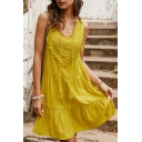 Leisure Womens Plain Sleeveless V-Neck Fringe Decoration Flower Embroidery Ruffled Trim Short Swing Dress for Holidays