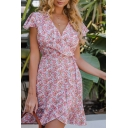 Gorgeous Ladies Short Sleeve Surplice Neck Bow Tie Waist Ruffled All Over Floral Print Short Wrap Dress in Pink