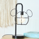Black Finish Mouse Head Cage Night Light Cartoon 1 Light Metal LED Night Table Lamp