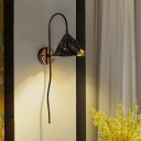 Withered Lotus Leaf Wall Lamp Modernist Metal Single Black and Gold Inner Sconce with Gooseneck Arm