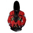 Popular Game Long Sleeve Drawstring Zip Up Buckle Straps Geo 3D Cosplay Print Color Block Relaxed Hoodie in Red