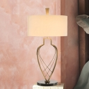 Drum Fabric Table Light Modernist 1 Head Beige Night Lamp with Gold Urn Frame Base